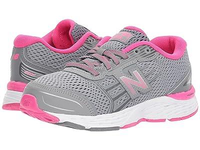 New Balance Kids KR680v5Y (Little Kid/Big Kid) (Steel/Pink Glo) Girls Shoes