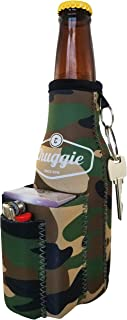 Beer Bottle Coolie With Two Pockets - Holds Cigarette And Lighter, Phone, Keys, 3mm Neoprene (Army)