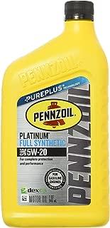 Pennzoil Platinum Full Synthetic Motor Oil (SN) 5W-20, 1 Quart - Pack of 1