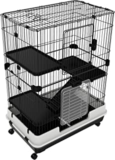 Tidyard 4-Tier Rabbit Wire Cage Pet Home with Wheels and Stairs Indoor Outdoor Cat Playpen Condo for Kitten Chinchillas Ferret 32 x 20.75 x 43.25 Inches (L x W x H)