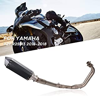 PACEWALKER Full Exhaust System Pipe Middle Pipe Slip On For YAMAHA R25 R3 2014 2015 2016 With Muffler Carbon Fiber Exhaust