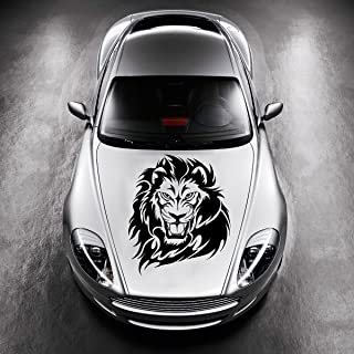 Vinyl Decals for Car Hood Animal Tribal Wild Lion Wildcat Sticker Art Any Vehicle Window Graphics Mural (4741)