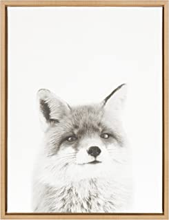 Kate and Laurel Sylvie Fox Black and White Portrait Framed Canvas Wall Art by Simon Te Tai, Natural 18x24