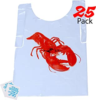 Upper Midland Products Lobster Bibs - 25 Disposable Bibs for Crawfish Boil, Seafood Parties, or Home Dinners by