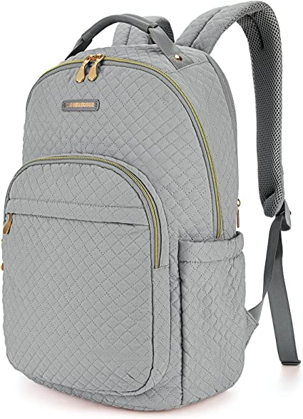 """Women Backpacks LIGHT FLIGHT Laptop Backpack for Women 15.6"""" Notebook Casual Bag Stylish Stitch Pattern Day Pack for Travel Business College High School Grey"""