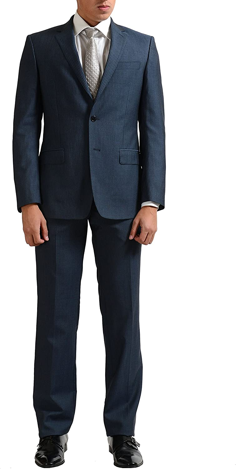 Versace Collection Men's Silk Mohair Wool Striped Two Button Suit US 36 IT 46