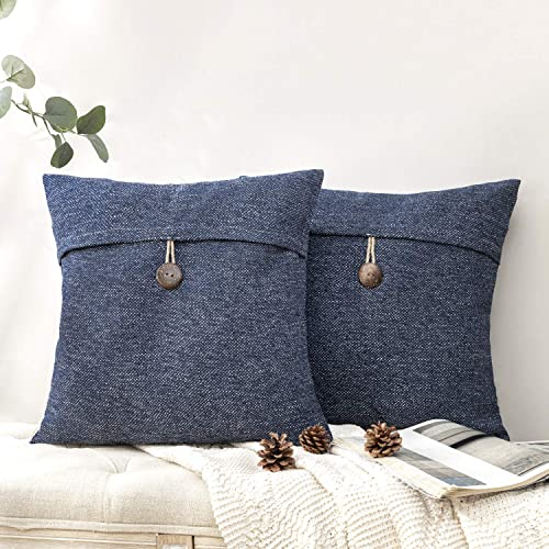 high quality Phantoscope Pack outlet online sale of 2 Farmhouse Throw Pillow outlet sale Covers Button Vintage Linen Decorative Pillow Cases for Couch Bed and Chair Navy Blue 18 x 18 inches 45 x 45 cm outlet sale