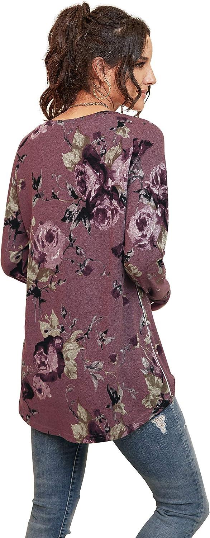 PrinStory Womens Causal V-Neck Soft Raglan Long Sleeves Sweatshirts Tops Basic T-Shirt Split Blouse with Side Zipper