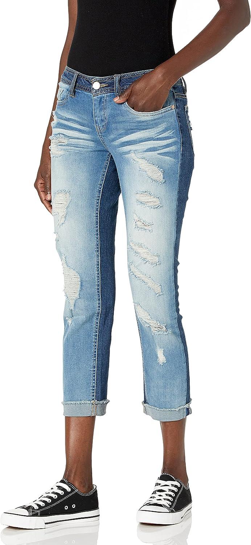dollhouse Women's Denim Cuffed Jeans with Heavy Destruction
