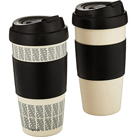 Copco Reusable Set of 2 Insulated Double Wall Travel Mugs, 2 Count (Pack of 1), White/Black
