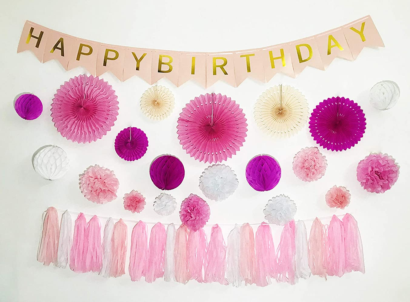 PINK Birthday Party Decoration 41pcs Party Decors and Supplies Happy Birthday Banner Paper Tassels Paper Poms Honeycomb Balls Party Hanging Paper Fans Multilayer and Transparent Hole around (Pink Set)