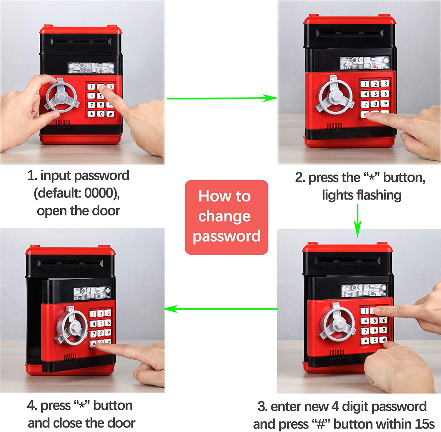 Fresh Friend Electronic Piggy Bank Red Black B Great Gift for Girls /& Boys Safe Password Coin Bank with Lock Kids Money Bank Auto Scroll Paper Money Saving Box