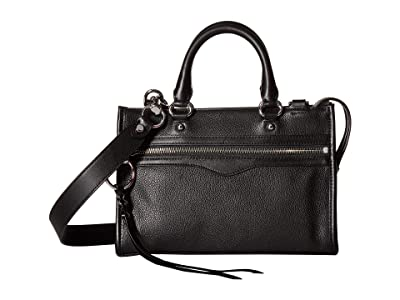 Rebecca Minkoff Micro Bedford Zip Satchel (Black) Satchel Handbags