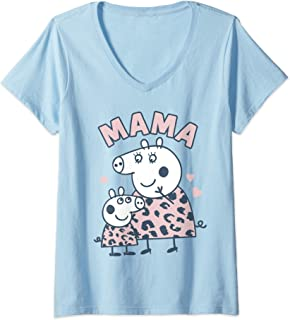 Femme Peppa Pig Mama T-Shirt avec Col en V