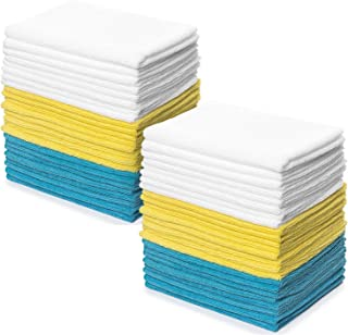 Zeppoli Reusable Microfiber Cleaning Cloth Set - 12 x 16 Inch Microfiber Cloth - 48 Pack Washcloth, Auto Detailing Supplies – Cleaning Rags, Works Great with Windex
