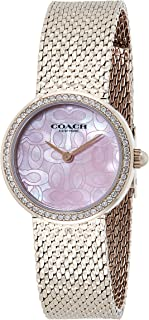 Coach Women's Pink Mother Of Pearl Dial Ionic Plated Carnation Gold Steel Watch - 14503438