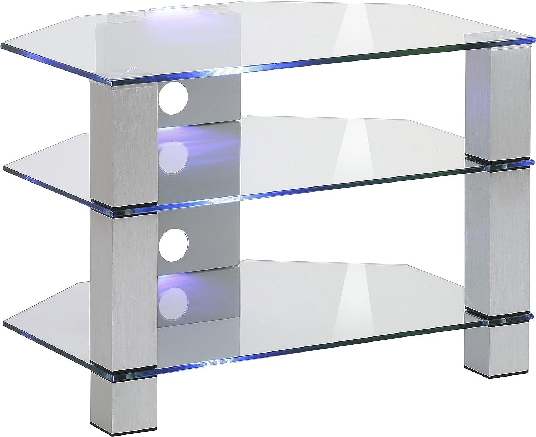 MAJA Mbel TV-Rack Glas Metall Alu - Klarglas 70 x 50 x 50 cm