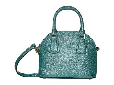Kate Spade New York Sylvia Glitter Mini Dome Satchel (Green Jade) Bags