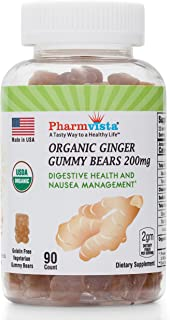 USDA Organic Ginger Gummies 200mg 90 Count for Nausea Management and Digestive Health