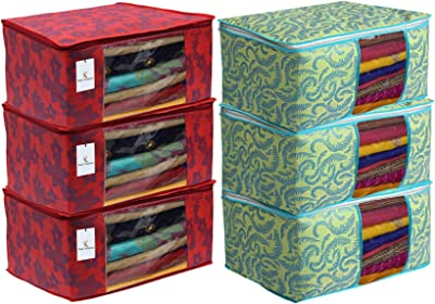 Heart Home Metalic Printed 6 Piece Non Woven Fabric Saree Cover Set with Transparent Window, Extra Large, Green & Red - CTHH22736