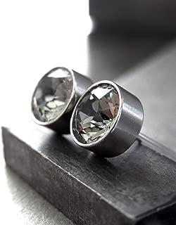 Lavender Quartz Low Profile Petite Modern Minimalist Earrings Stainless Steel