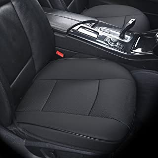 DINKANUR (2 PCS Edge Wrapping Auto Seat Covers PU Leather Car Seat Covers Fit Car Seat Protectors - Without Backrest Front Seat Covers for Cars (Wide 53cm × deep 54cm) (3D-Black)