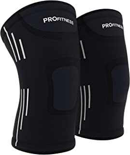 ProFitness Knee Sleeves (One Pair) Knee Support for Joint Pain & Arthritis Pain Relief - Effective Support for Running, Pa...