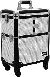 (Krystal, White) - Sunrise E6304 Professional Rolling Makeup Train Case Organiser Storage, Krystal White