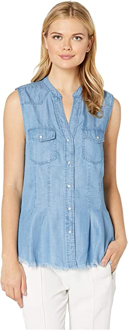 Flap Patch Pocket Western Sleeveless Top