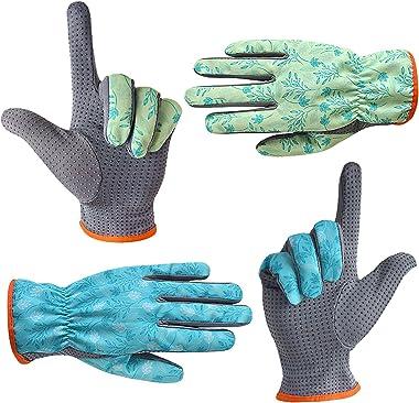 SEUROINT 2 Pcs Garden Gloves, PVC Dots Working Gardening Gloves for Unix