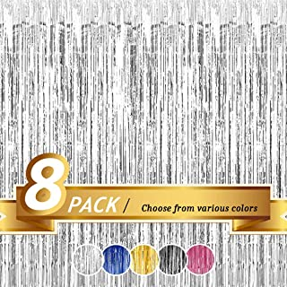 BTSD-home Silver Foil Fringe Curtain, Metallic Photo Booth Tinsel Backdrop Door Curtains for Wedding Birthday Hollywood Th...