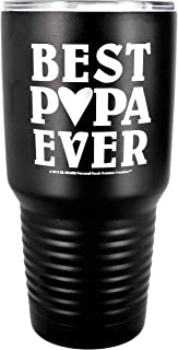 "PAPA GIFT ~ Engraved ""BEST PAPA EVER"" Premium Stainless Steel Tumbler 30 oz Vacuum Insulated Large Travel Coffee Mug Hot & Cold Drinks Christmas Birthday Father's Day from Daughter Son (Black)"
