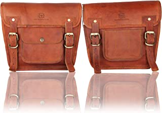 Leather Motorcycle Bags Side Pouches - 1 Pair of Brown Genuine Leather Saddle Panniers - Waterproof Storage for a Stunning Vintage or Modern Look - Duffel Touring Bag Styling Suits Men or Women