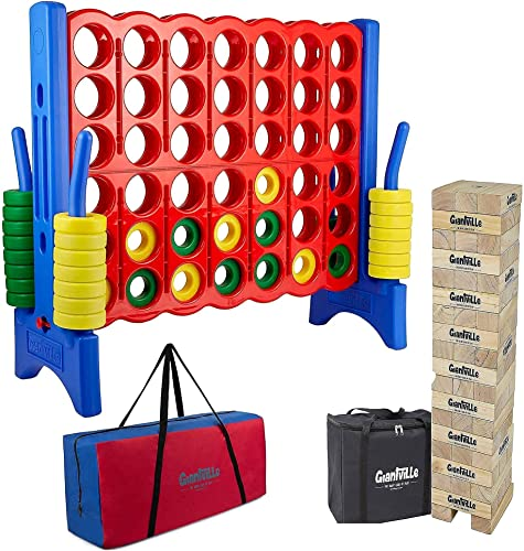 wholesale Giant 4 in a Row with high quality Carry/Storage Bag + Giant Tumbling Timber Blocks Toy popular with Carry/Storage Bag - Oversized Floor Games - Life Size Backyard Toys for Kids and Adults outlet sale