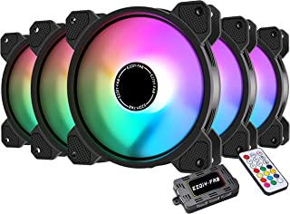 EZDIY-FAB 120mm RGB LED Case Fan for PC Cases, CPU Cooling Fan, Water Cooling Fan, Addressable RGB Case Fan with Controlle...