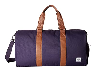Herschel Supply Co. Novel Mid-Volume (Purple Velvet/Tan Synthetic Leather) Duffel Bags