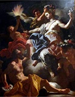 Aurora, Roman Goddess of The Dawn, Bids Goodbye to Her Lover Tithonus. Aurora is About to Illuminate The Darkness of Night by Francesco Solimena