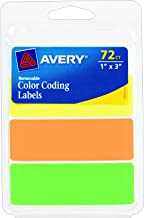 Avery Rectangular Color Coding Labels, 1 x 3 Inches, Assorted, Removable, Pack of 72 (06722)
