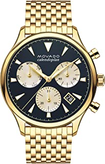 Movado Mens Heritage Yellow Gold Chronograph Watch with Printed Index, Gold/Blue/White
