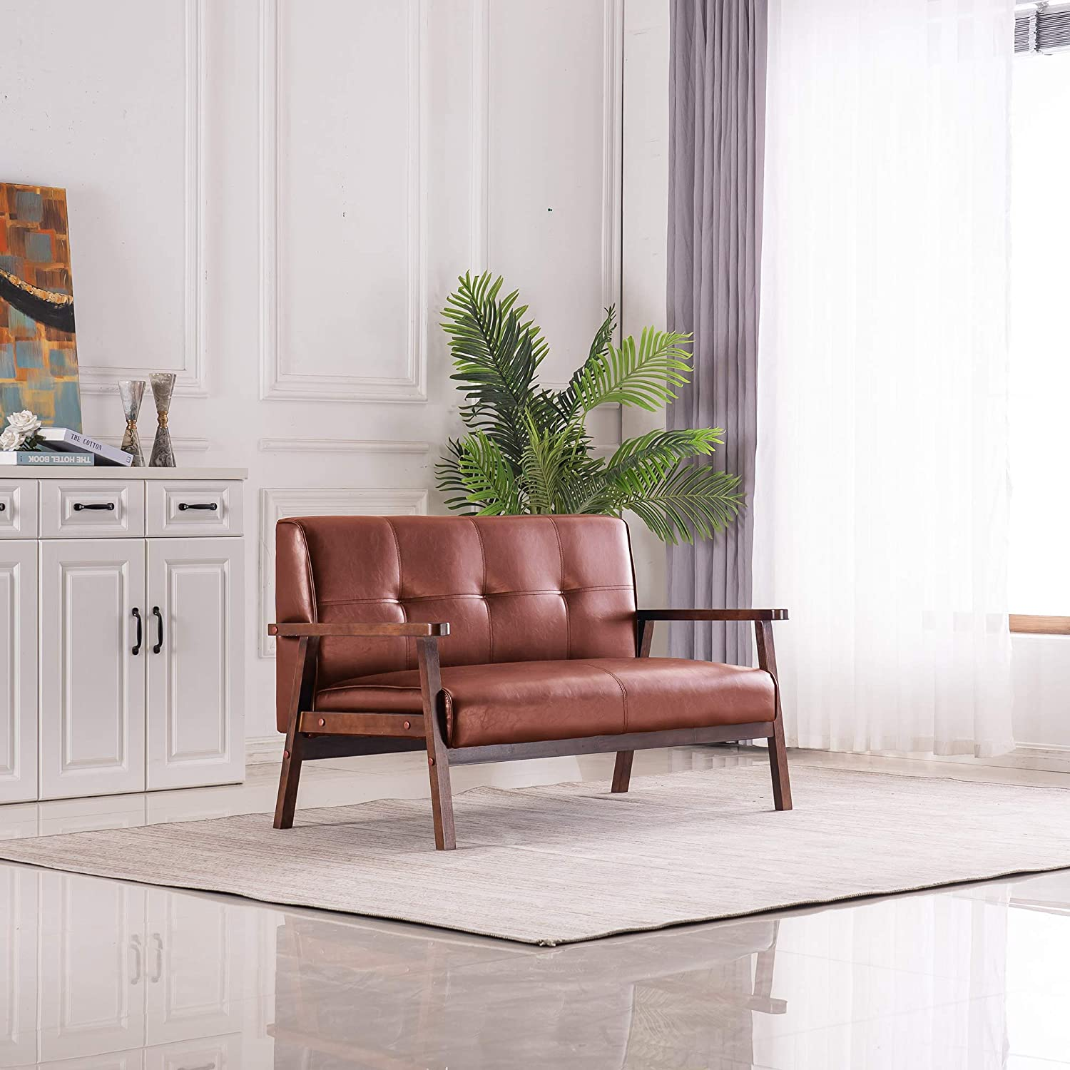 Baysitone Loveseat Sofa with Solid gift Upholstered Price reduction PU Lea Wood Legs