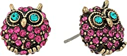 Betsey Johnson - Purple and Gold Owl Stud Earrings