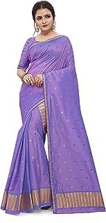 SKiran's Assamese Machine-Weaving Poly Silk Mekhela Chador Saree - Dn5003 Mekhla Sador (Firozi and Lavender)