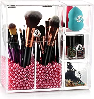 hblife Makeup Brush Holder, Acrylic Makeup Organizer with 2 Brush Holders and 3 Drawers Dustproof Box with Free Pink Pearl
