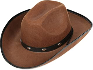 Fun Central Felt Studded Cowboy Hat Party Favor Supplies - Brown