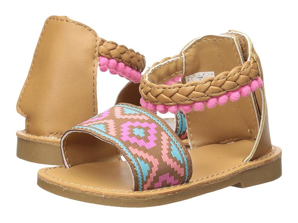 Baby Deer First Steps Pom Pom Sandal (Infant/Toddler) (Brown) Girls Shoes