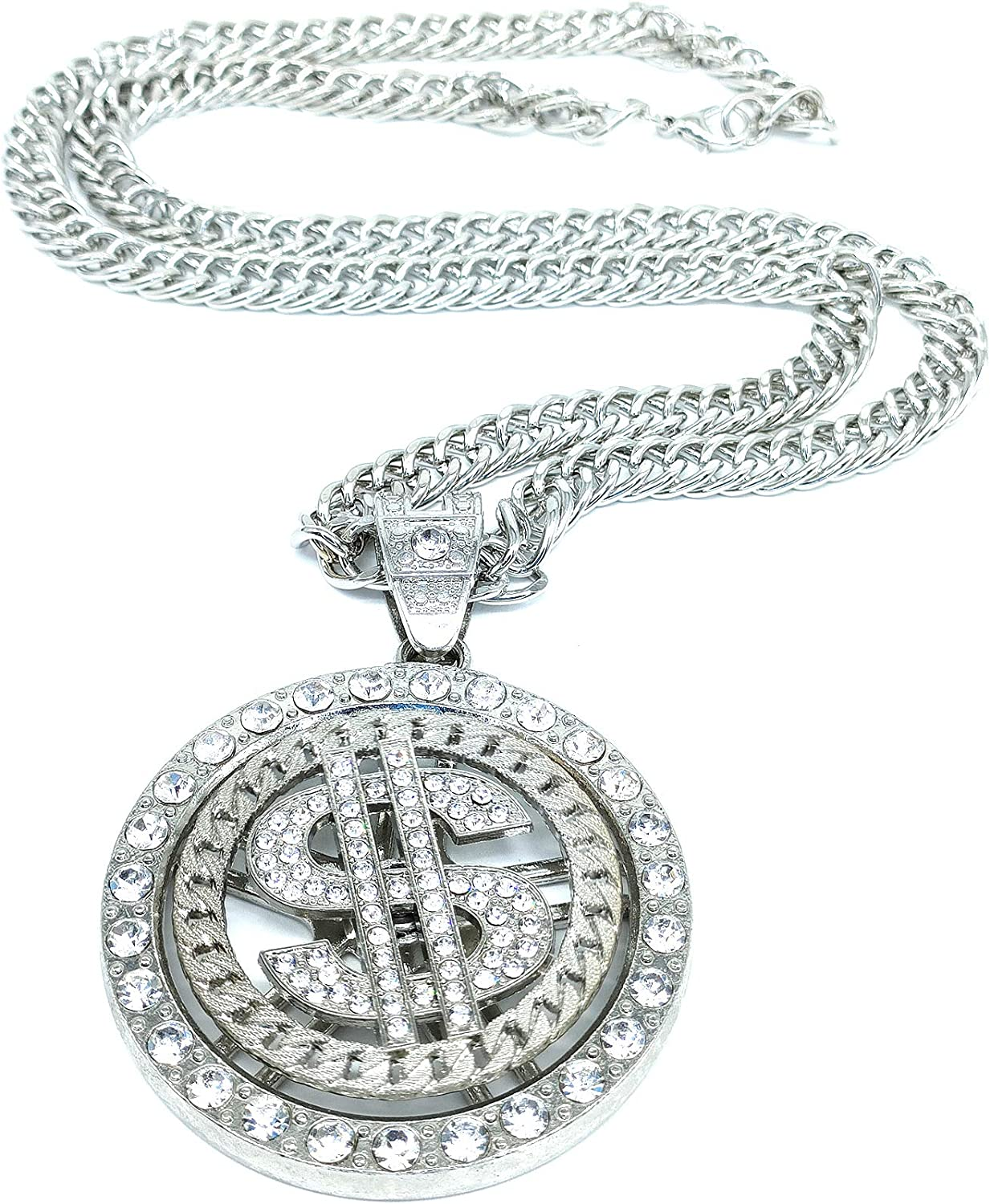 Hslsmxy Hiphop Rotating Big US 1 Popular brand Jacksonville Mall in the world Silver Necklace Dollars Pendant