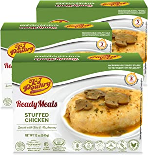 Kosher MRE Meat Meals Ready to Eat, Gluten Free Stuffed Chicken Breast Rice (3 Pack) - Prepared Entree Fully Cooked, Shelf...