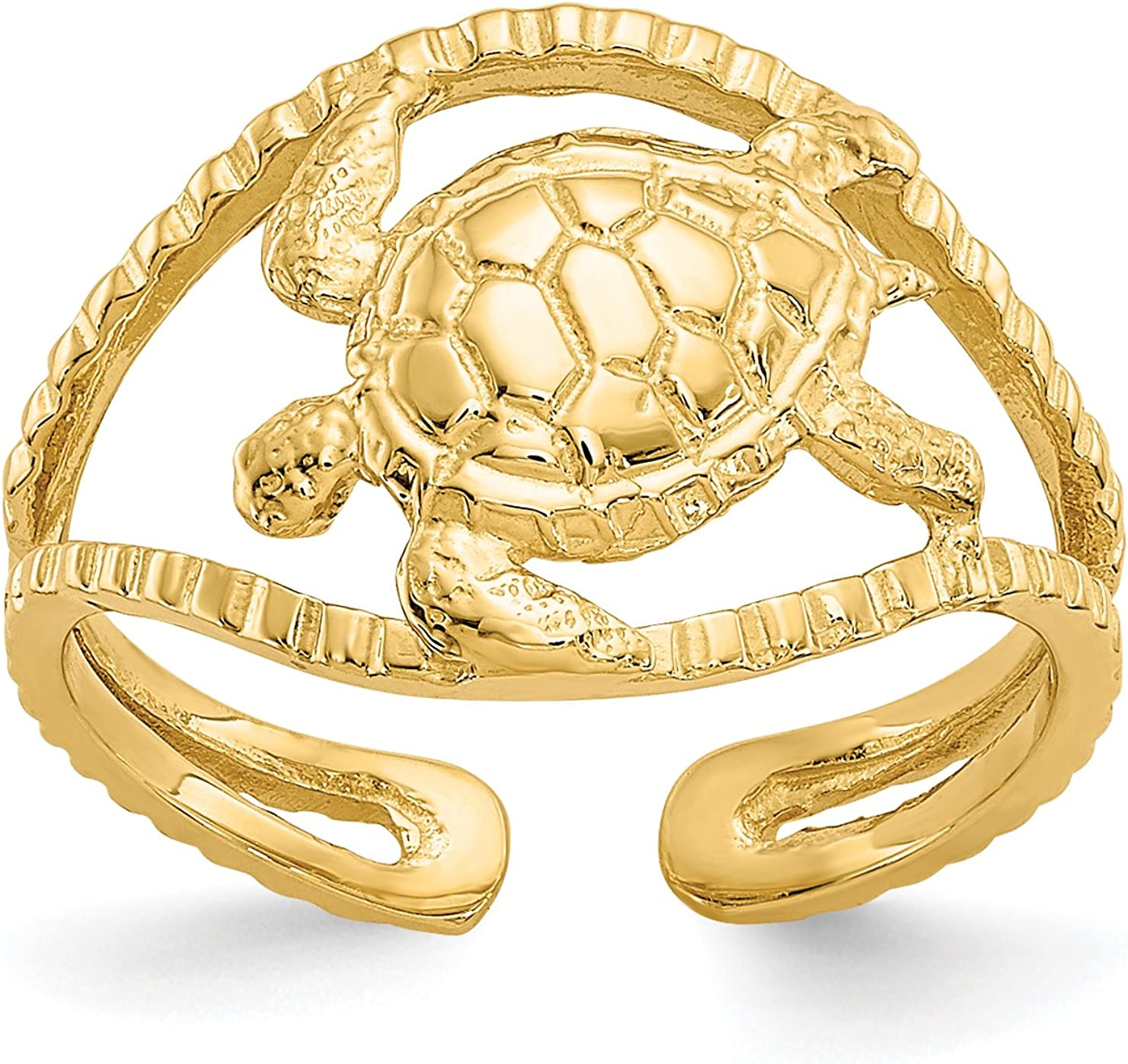 14k Yellow Gold Sea Turtle on Split Shank Toe Ring with Accented Band