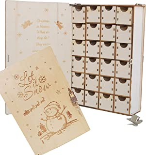 クリスマス 飾り アドベントカレンダー 2020 鍵付木製BOXカレンダー 日替わりカレンダー (スノーマン)