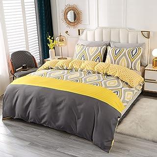 SUCHDECO housse de couette 240x220cm, Motif de feuille style simple moderne Parure de lit avec 1 Taie d'oreiller 2x50x75 c...